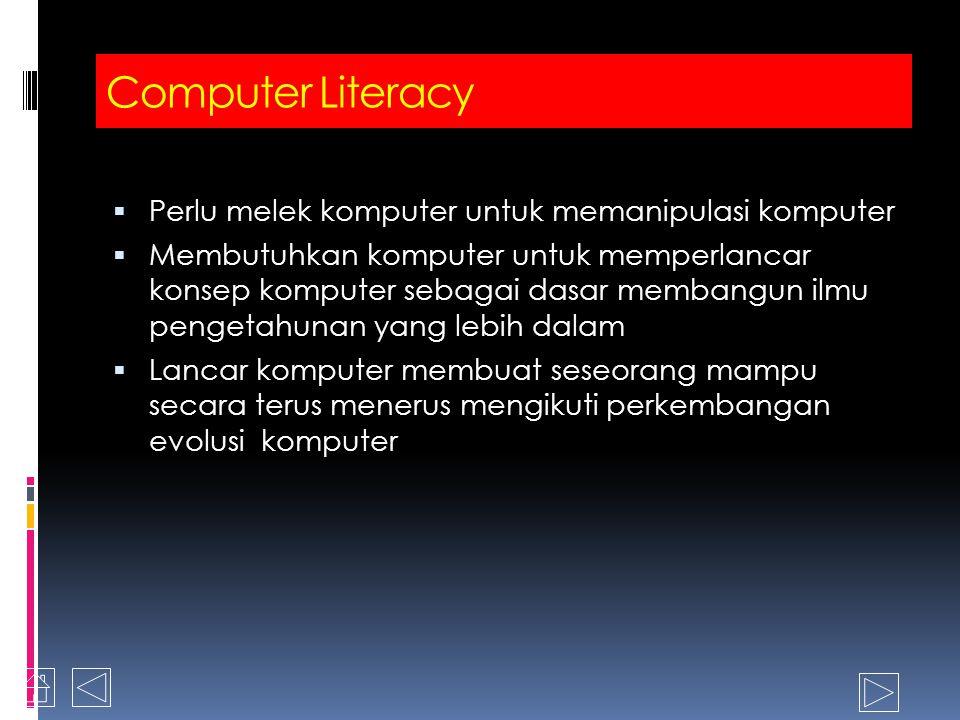 Computer Literacy Awareness/Kesadaran Importance/Kepenringan Versatility/Multifungsi Pervasiveness in our society/Menjalar di masyarakat kita Knowledge What are computers How do computers work Terminology/Istilah Interaction Menggunkan beberapa aplikasi komputer sederhana