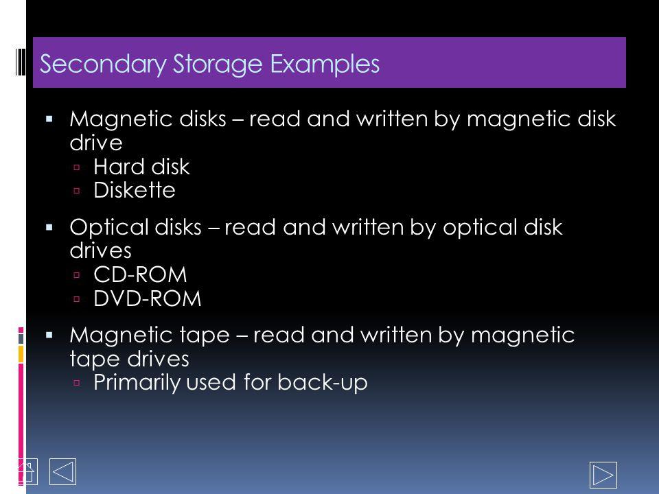 Secondary Storage Long-term storage Non-volatile