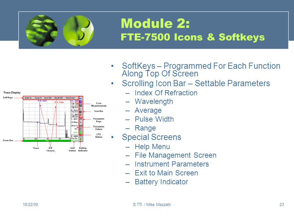 10/22/09© TTI / Mike Mazzatti23 Module 2: FTE-7500 Icons & Softkeys SoftKeys – Programmed For Each Function Along Top Of Screen Scrolling Icon Bar – Settable Parameters –Index Of Refraction –Wavelength –Average –Pulse Width –Range Special Screens –Help Menu –File Management Screen –Instrument Parameters –Exit to Main Screen –Battery Indicator