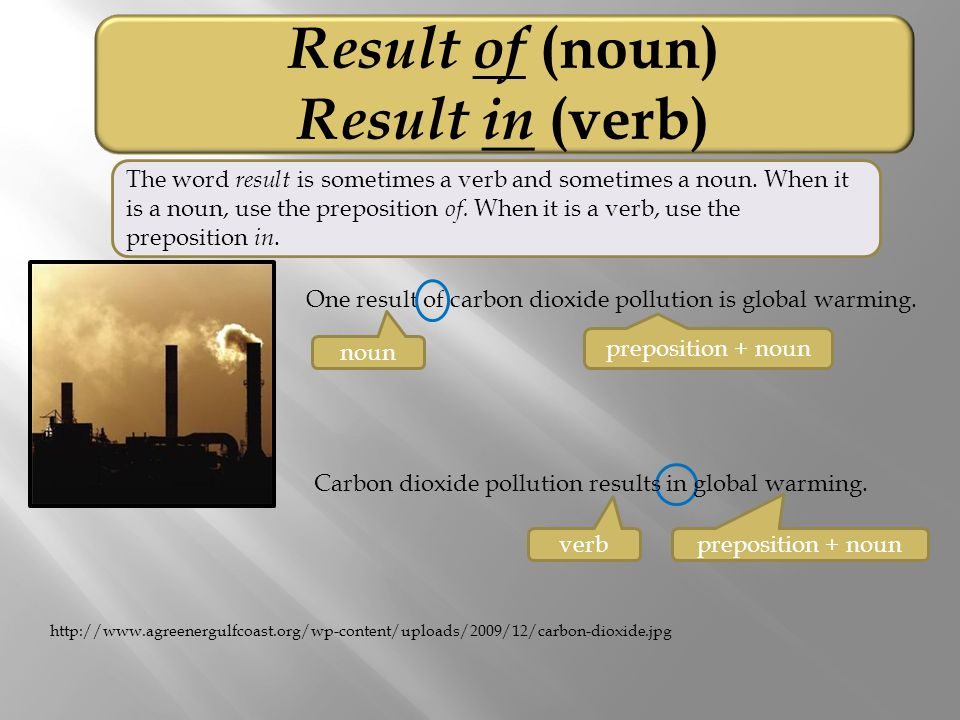 Result of (noun) Result in (verb) One result of carbon dioxide pollution is global warming.
