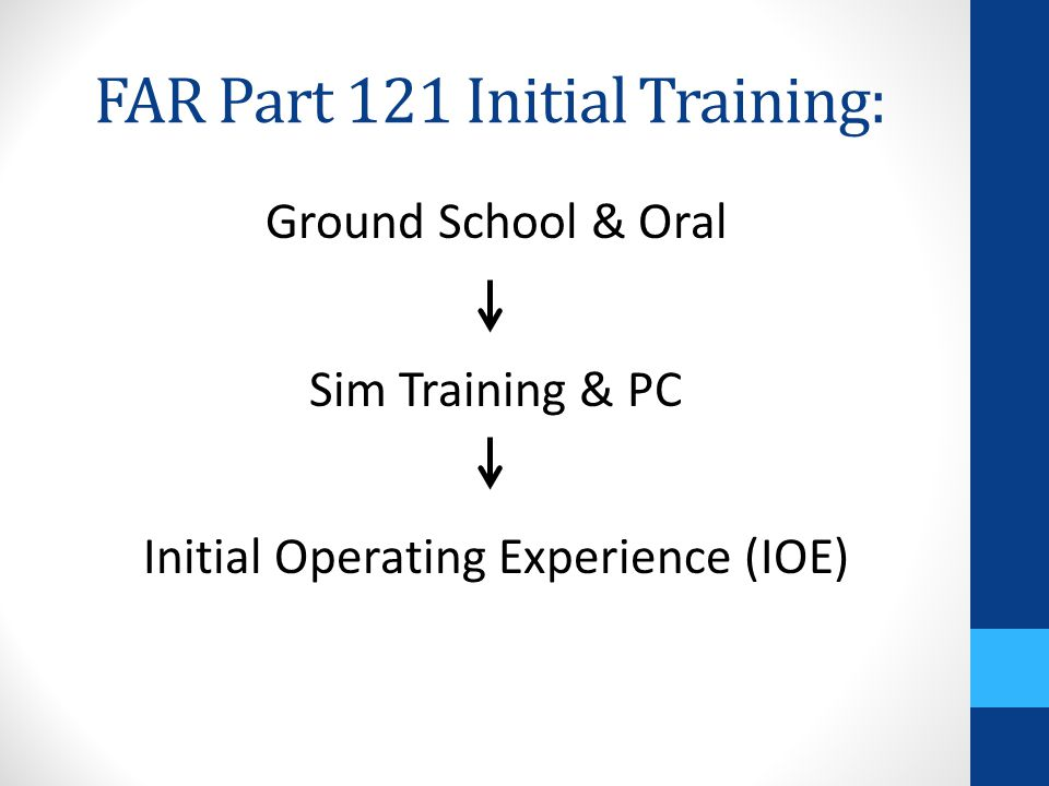 FAR Part 121 Initial Training: Ground School & Oral Sim Training & PC Initial Operating Experience (IOE)