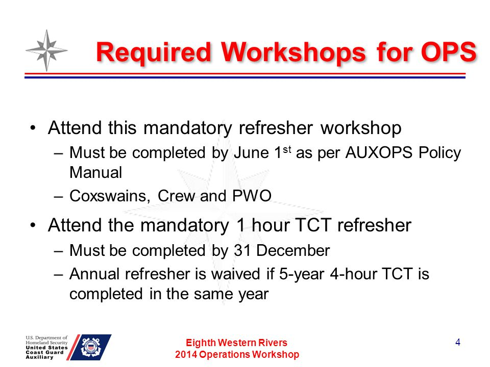 Required Workshop for OPS This workshop may be delivered at the Flotilla level...