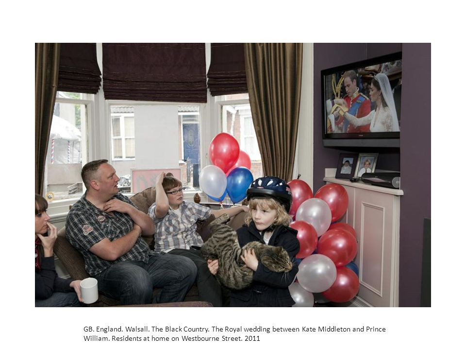 GB. England. Walsall. The Black Country. The Royal wedding between Kate Middleton and Prince William. Residents at home on Westbourne Street. 2011