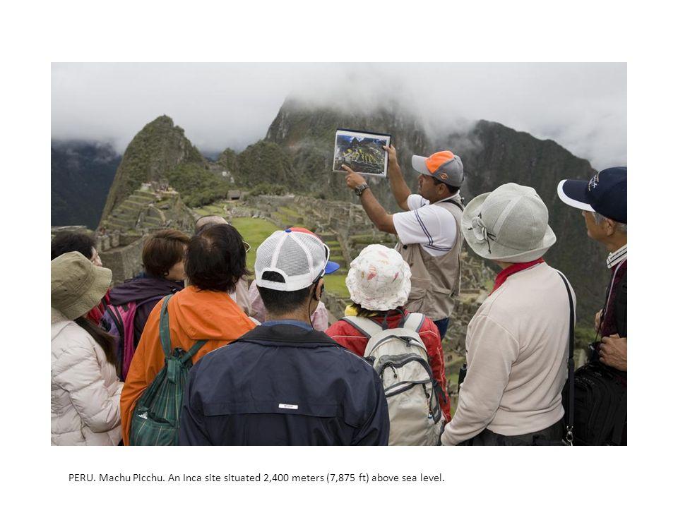 PERU. Machu Picchu. An Inca site situated 2,400 meters (7,875 ft) above sea level.