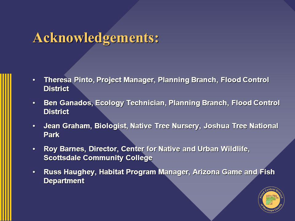 Acknowledgements: Theresa Pinto, Project Manager, Planning Branch, Flood Control DistrictTheresa Pinto, Project Manager, Planning Branch, Flood Contro