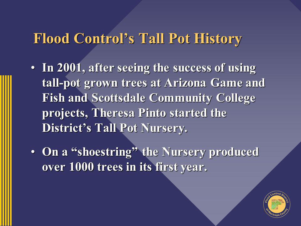 Flood Controls Tall Pot History In 2001, after seeing the success of using tall-pot grown trees at Arizona Game and Fish and Scottsdale Community Coll