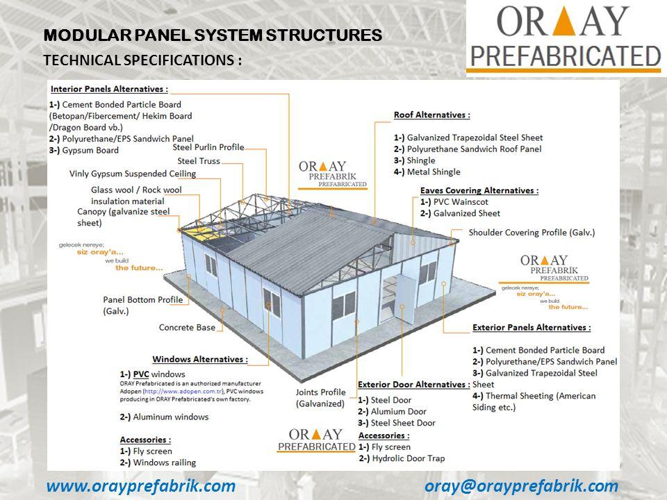 www.orayprefabrik.comoray@orayprefabrik.com MODULAR PANEL SYSTEM STRUCTURES TECHNICAL SPECIFICATIONS :