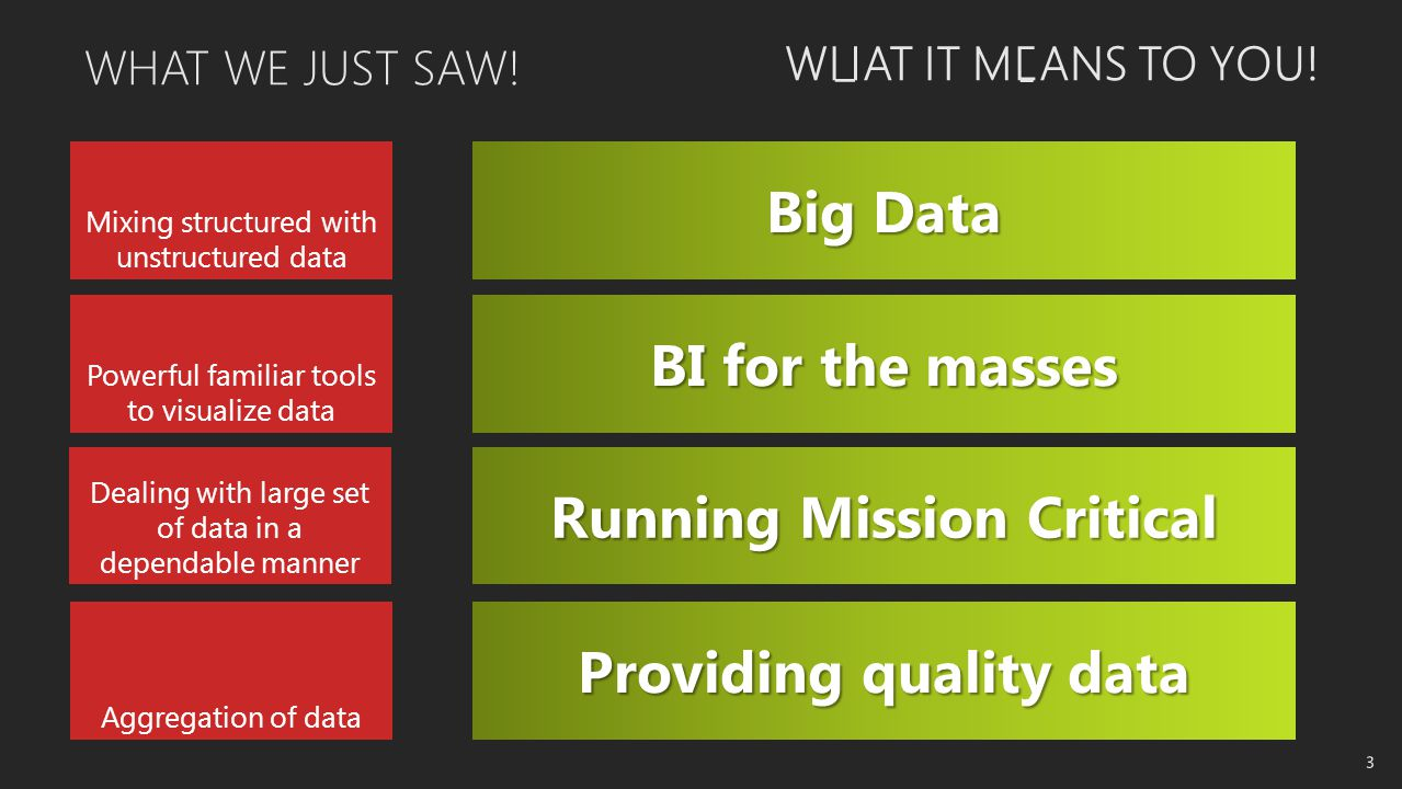 Big Data BI for the masses Running Mission Critical Providing quality data WHAT IT MEANS TO YOU.