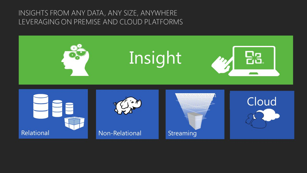 INSIGHTS FROM ANY DATA, ANY SIZE, ANYWHERE LEVERAGING ON PREMISE AND CLOUD PLATFORMS 010101010101010101 1010101010101010 01010101010101 101010101010