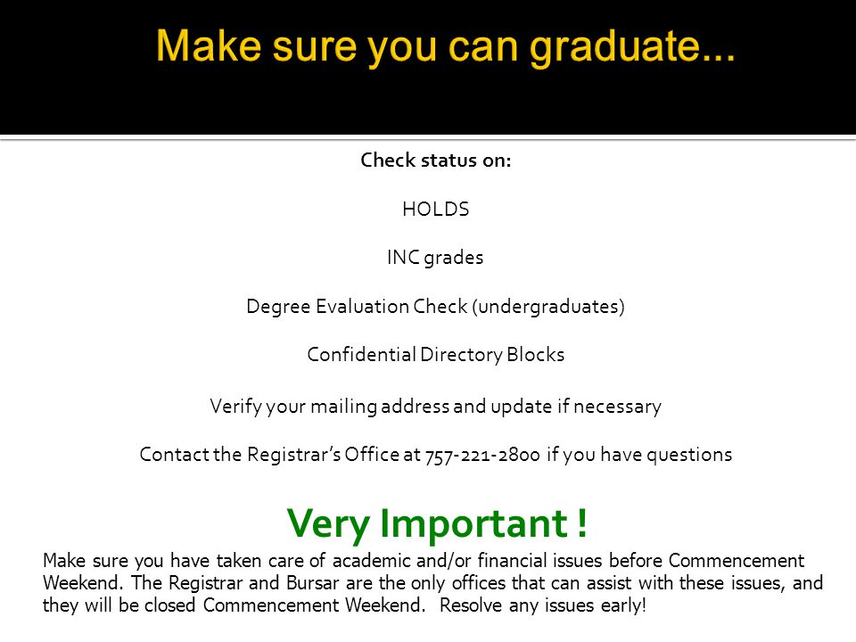 Check status on: HOLDS INC grades Degree Evaluation Check (undergraduates) Confidential Directory Blocks Verify your mailing address and update if necessary Contact the Registrars Office at 757-221-2800 if you have questions Very Important .