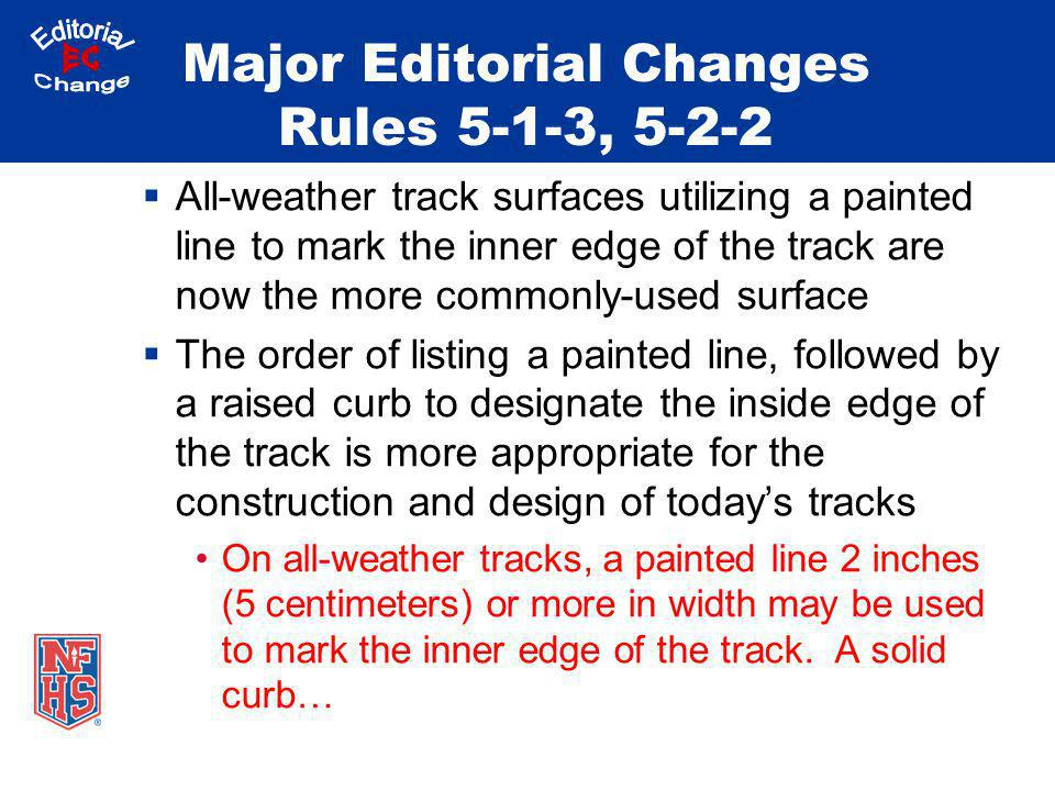 Major Editorial Changes Rules 5-1-3, 5-2-2 All-weather track surfaces utilizing a painted line to mark the inner edge of the track are now the more co