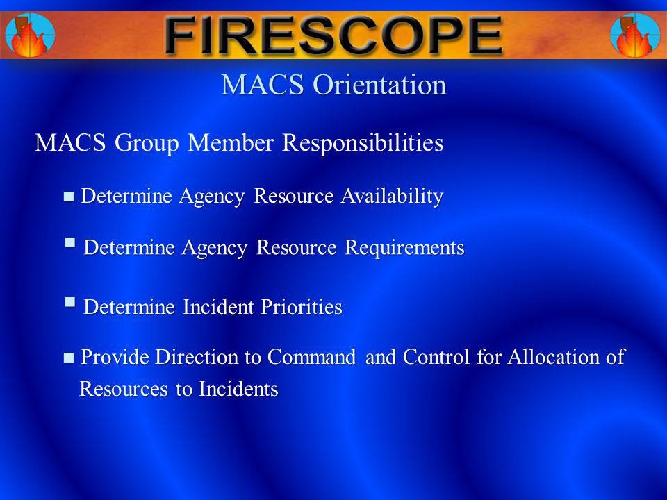 MACS Orientation Determine Agency Resource Availability Determine Agency Resource Availability Determine Agency Resource Requirements Determine Agency