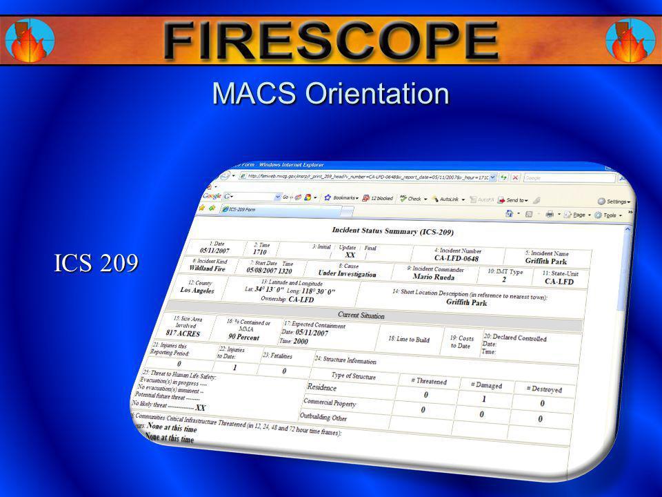 MACS Orientation ICS 209