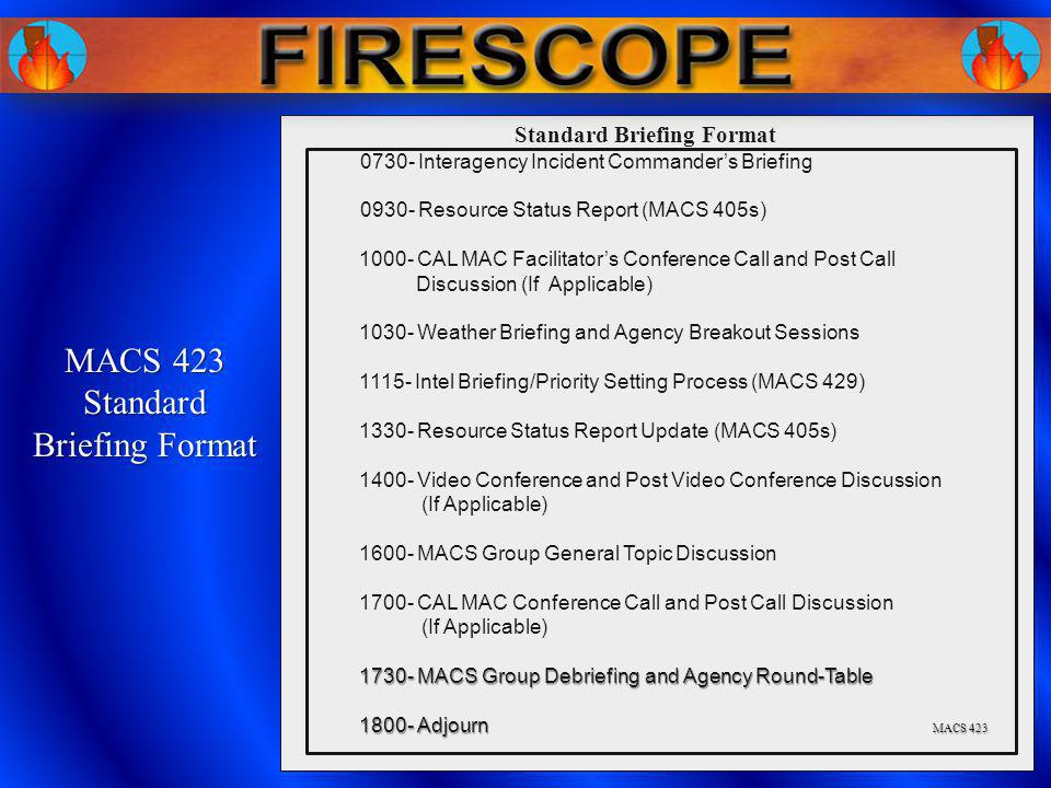 0730- Interagency Incident Commanders Briefing 0930- Resource Status Report (MACS 405s) 1000- CAL MAC Facilitators Conference Call and Post Call Discu