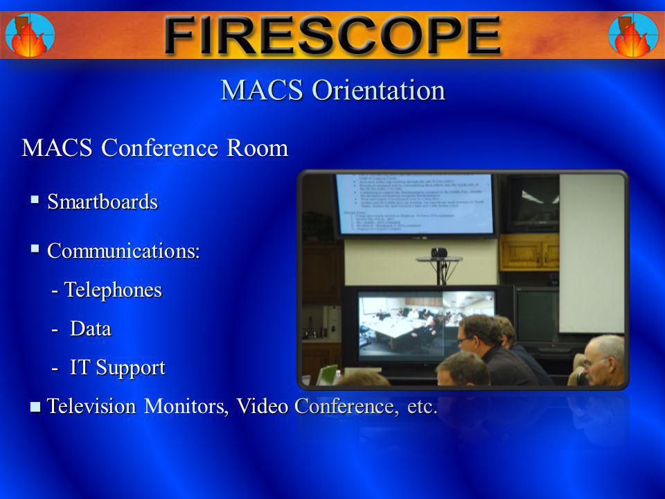 MACS Orientation MACS Conference Room Smartboards Smartboards Communcations: Communications: Television, Video Conference, etc. Television Monitors, V