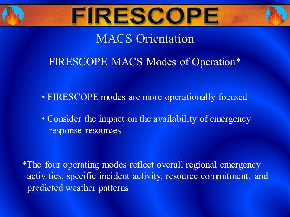 FIRESCOPE MACS Modes of Operation* MACS Orientation FIRESCOPE modes are more operationally focused Consider the impact on the availability of emergenc