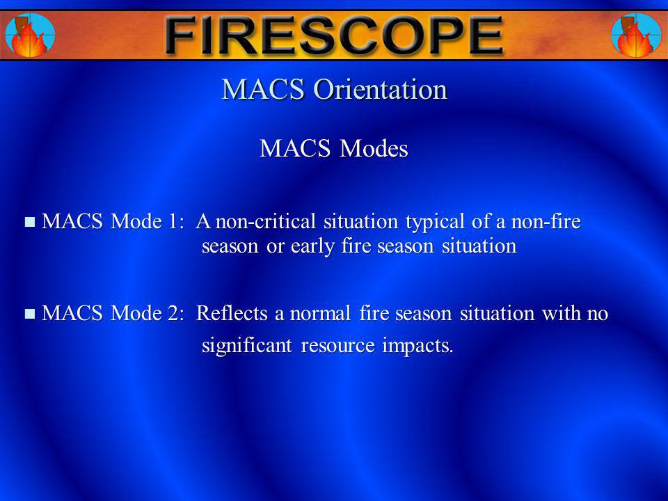MACS Orientation MACS Mode 1: A non-critical situation typical of a non-fire season or early fire season situation MACS Mode 1: A non-critical situati