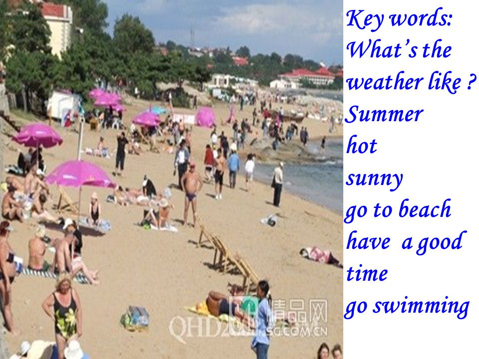 Key words : Whats the weather like? Spring, fly kites warm, Sunny, nice day……
