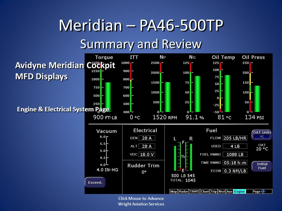 Meridian – PA46-500TP Summary and Review Engine & Electrical System Page Avidyne Meridian Cockpit MFD Displays Click Mouse to Advance Wright Aviation