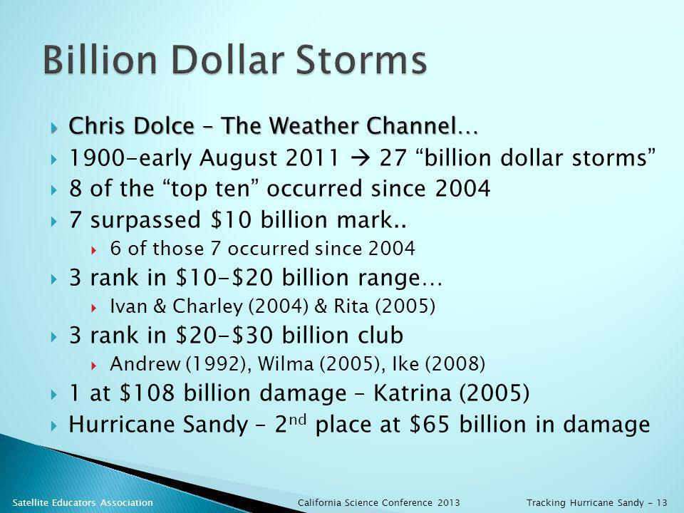 Chris Dolce – The Weather Channel… Chris Dolce – The Weather Channel… 1900-early August 2011 27 billion dollar storms 8 of the top ten occurred since 2004 7 surpassed $10 billion mark..