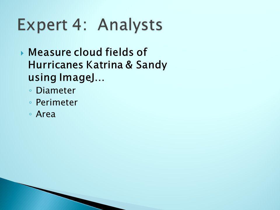 Measure cloud fields of Hurricanes Katrina & Sandy using ImageJ… Diameter Perimeter Area