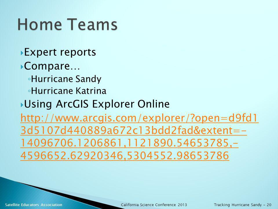 Expert reports Compare… Hurricane Sandy Hurricane Katrina Using ArcGIS Explorer Online http://www.arcgis.com/explorer/ open=d9fd1 3d5107d440889a672c13bdd2fad&extent=- 14096706.1206861,1121890.54653785,- 4596652.62920346,5304552.98653786 California Science Conference 2013 Satellite Educators AssociationTracking Hurricane Sandy - 20