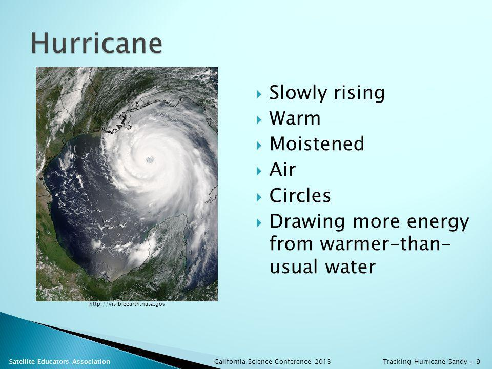Slowly rising Warm Moistened Air Circles Drawing more energy from warmer-than- usual water http://visibleearth.nasa.gov California Science Conference 2013 Satellite Educators AssociationTracking Hurricane Sandy - 9