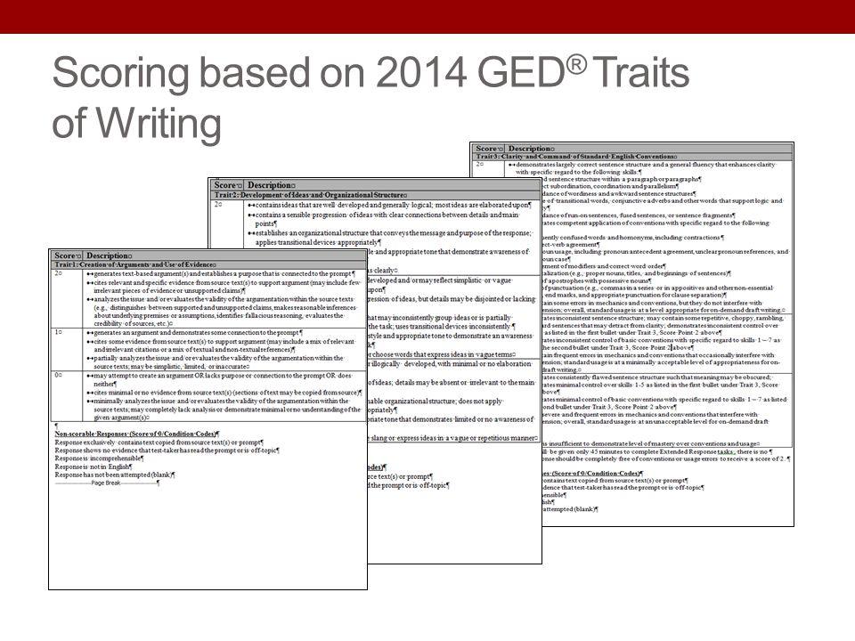 Scoring based on 2014 GED ® Traits of Writing