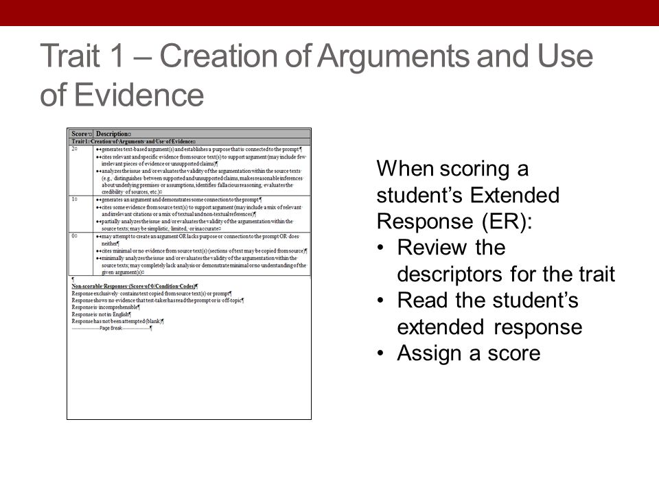Trait 1 – Creation of Arguments and Use of Evidence When scoring a students Extended Response (ER): Review the descriptors for the trait Read the stud