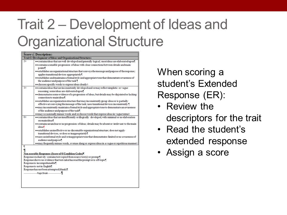 Trait 2 – Development of Ideas and Organizational Structure When scoring a students Extended Response (ER): Review the descriptors for the trait Read