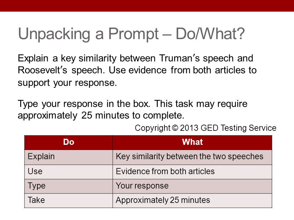 Unpacking a Prompt – Do/What? Explain a key similarity between Trumans speech and Roosevelts speech. Use evidence from both articles to support your r
