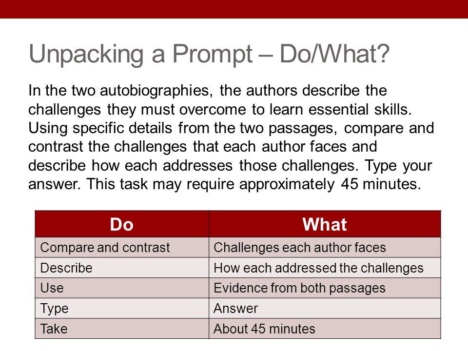Unpacking a Prompt – Do/What? In the two autobiographies, the authors describe the challenges they must overcome to learn essential skills. Using spec