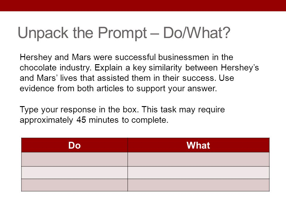 Unpack the Prompt – Do/What? DoWhat Hershey and Mars were successful businessmen in the chocolate industry. Explain a key similarity between Hersheys