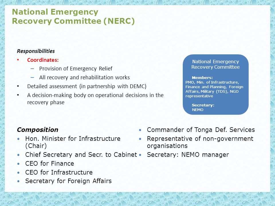 Responsibilities Coordinates: – Provision of Emergency Relief – All recovery and rehabilitation works Detailed assessment (in partnership with DEMC) A decision-making body on operational decisions in the recovery phase National Emergency Recovery Committee (NERC) Composition Hon.