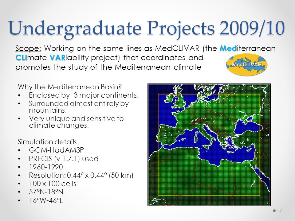 Undergraduate Projects 2009/10 Why the Mediterranean Basin? Enclosed by 3 major continents. Surrounded almost entirely by mountains. Very unique and s