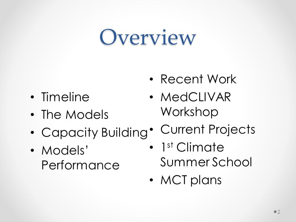 Overview Timeline The Models Capacity Building Models Performance Recent Work MedCLIVAR Workshop Current Projects 1 st Climate Summer School MCT plans