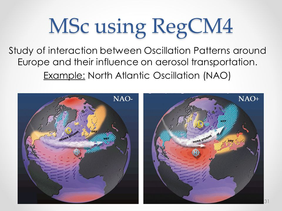 MSc using RegCM4 Study of interaction between Oscillation Patterns around Europe and their influence on aerosol transportation. Example: North Atlanti