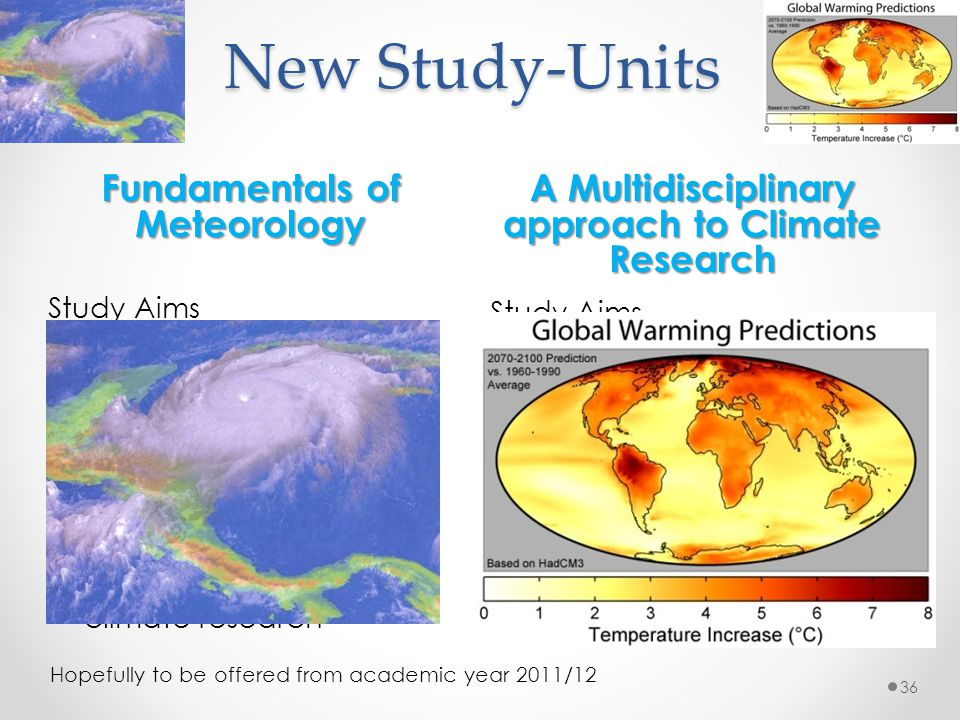 New Study-Units A Multidisciplinary approach to Climate Research Study Aims Scientific understanding of climate Operating climate models Post-processi
