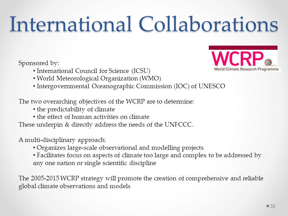 International Collaborations Sponsored by: International Council for Science (ICSU) World Meteorological Organization (WMO) Intergovernmental Oceanogr