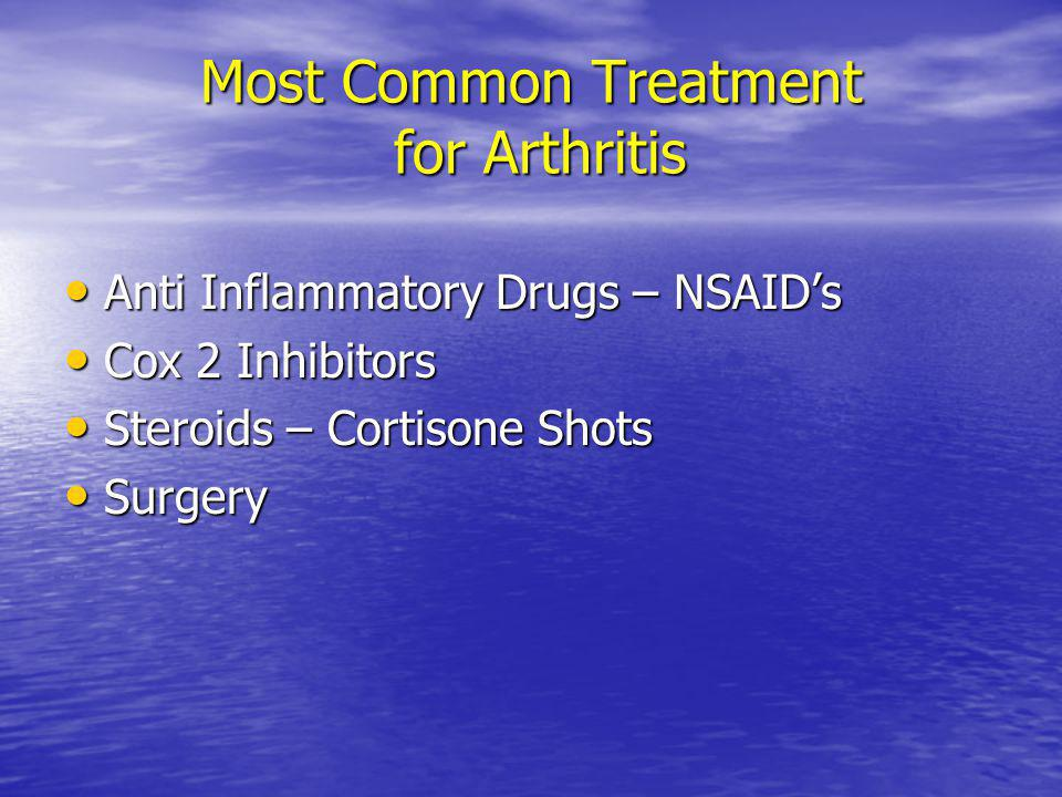 Most Common Treatment for Arthritis Anti Inflammatory Drugs – NSAIDs Anti Inflammatory Drugs – NSAIDs Cox 2 Inhibitors Cox 2 Inhibitors Steroids – Cor
