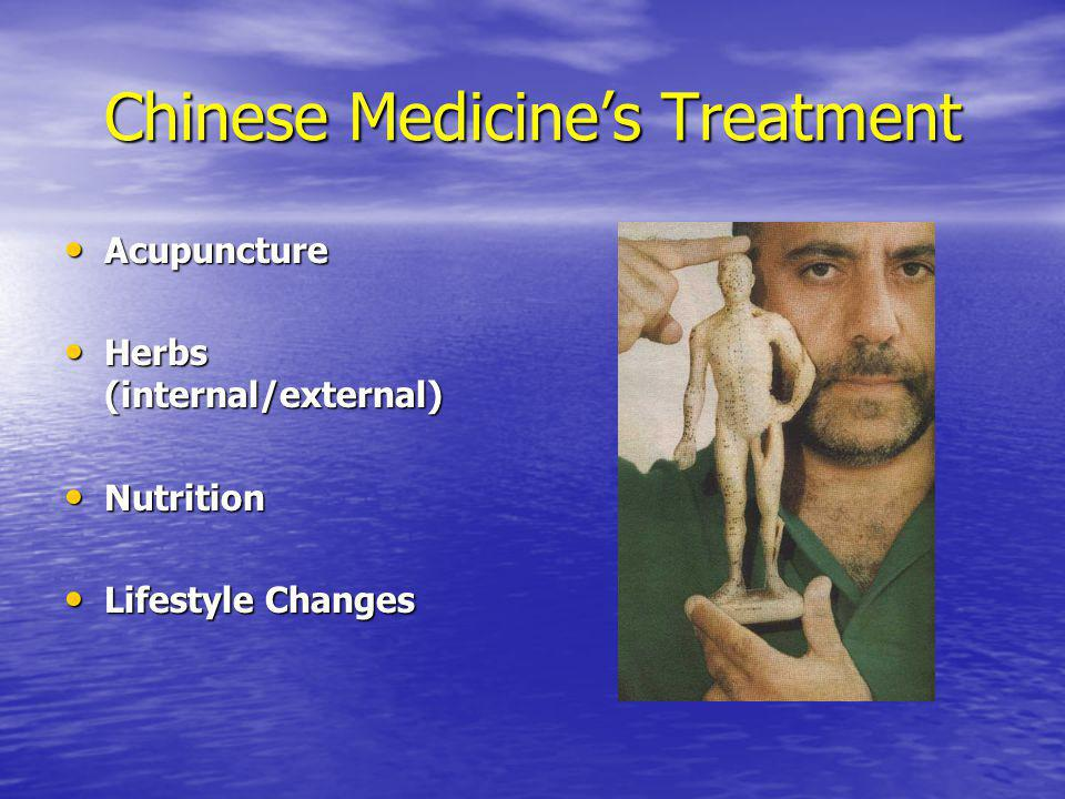 Chinese Medicines Treatment Acupuncture Acupuncture Herbs (internal/external) Herbs (internal/external) Nutrition Nutrition Lifestyle Changes Lifestyl