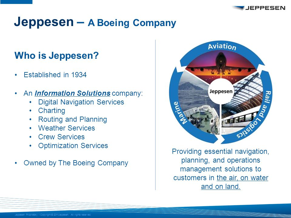 Jeppesen Proprietary - Copyright © 2011Jeppesen. All rights reserved. Jeppesen – A Boeing Company Who is Jeppesen? Established in 1934 An Information