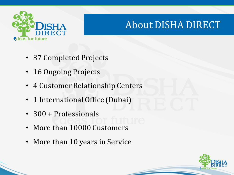 37 Completed Projects 16 Ongoing Projects 4 Customer Relationship Centers 1 International Office (Dubai) 300 + Professionals More than 10000 Customers More than 10 years in Service About DISHA DIRECT
