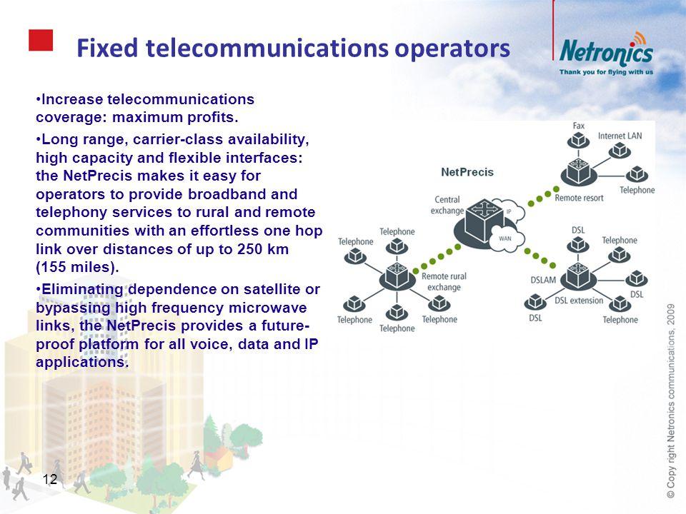 12 Fixed telecommunications operators Increase telecommunications coverage: maximum profits. Long range, carrier-class availability, high capacity and