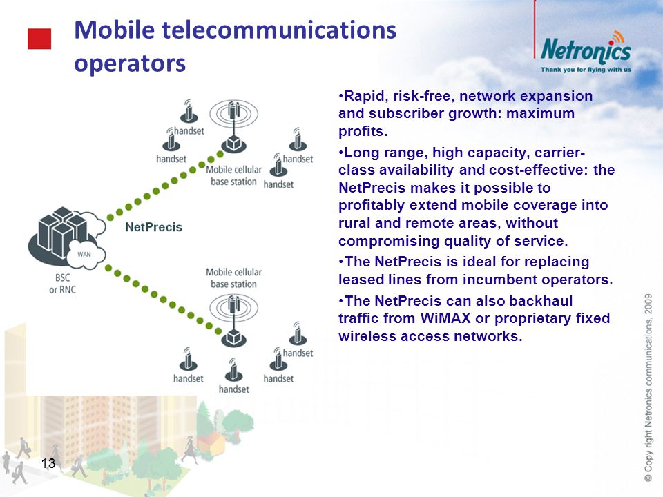 13 Mobile telecommunications operators Rapid, risk-free, network expansion and subscriber growth: maximum profits. Long range, high capacity, carrier-