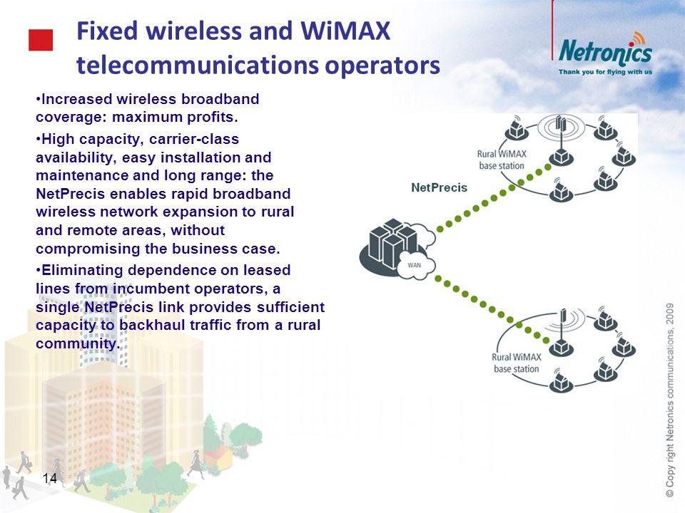 14 Fixed wireless and WiMAX telecommunications operators Increased wireless broadband coverage: maximum profits. High capacity, carrier-class availabi