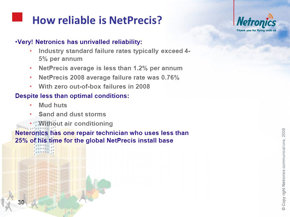 30 How reliable is NetPrecis? Very! Netronics has unrivalled reliability: Industry standard failure rates typically exceed 4- 5% per annum NetPrecis a