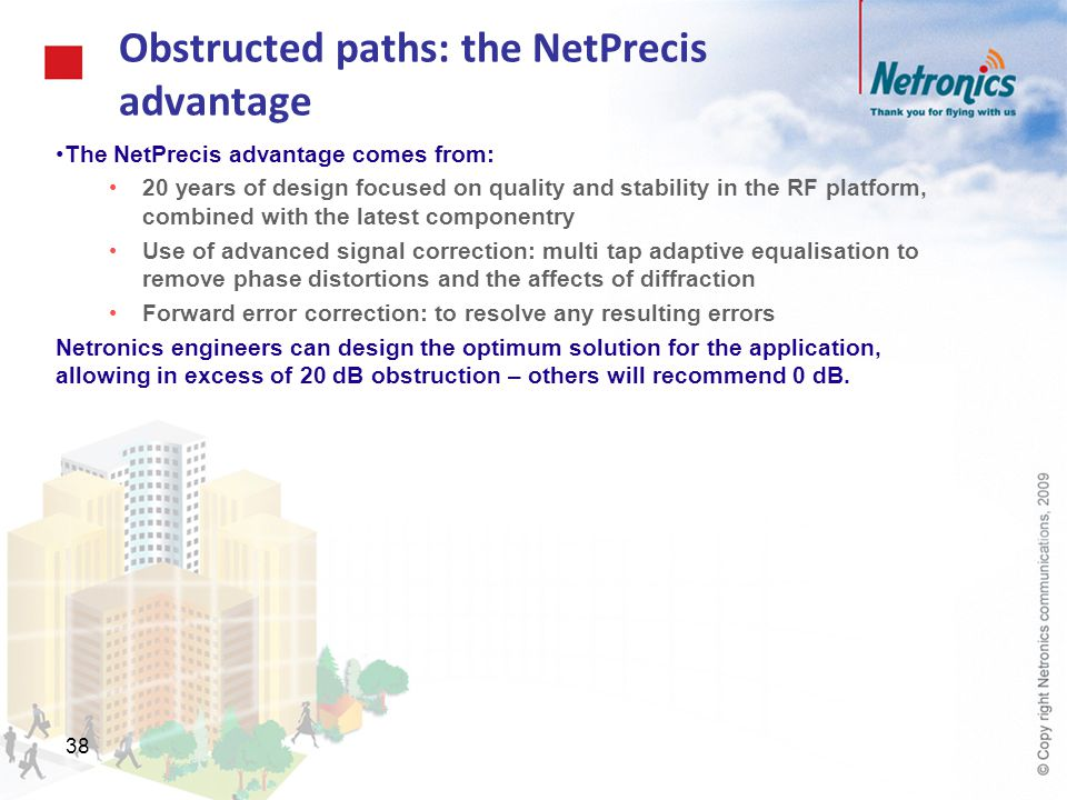 38 Obstructed paths: the NetPrecis advantage The NetPrecis advantage comes from: 20 years of design focused on quality and stability in the RF platfor