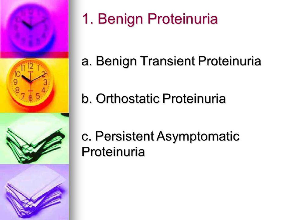 1. Benign Proteinuria a. Benign Transient Proteinuria b. Orthostatic Proteinuria c. Persistent Asymptomatic Proteinuria