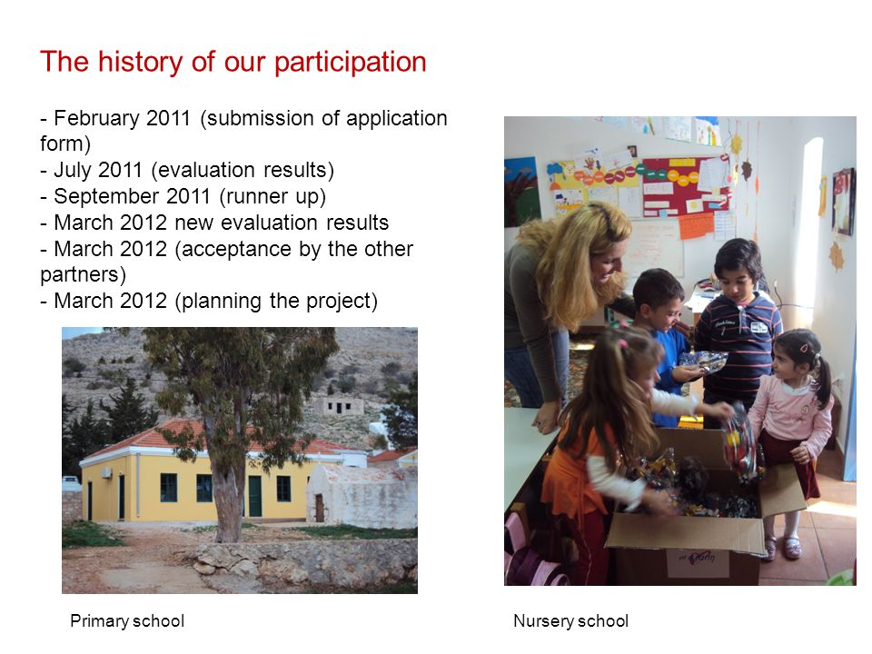 The history of our participation - February 2011 (submission of application form) - July 2011 (evaluation results) - September 2011 (runner up) - March 2012 new evaluation results - March 2012 (acceptance by the other partners) - March 2012 (planning the project) Primary schoolNursery school